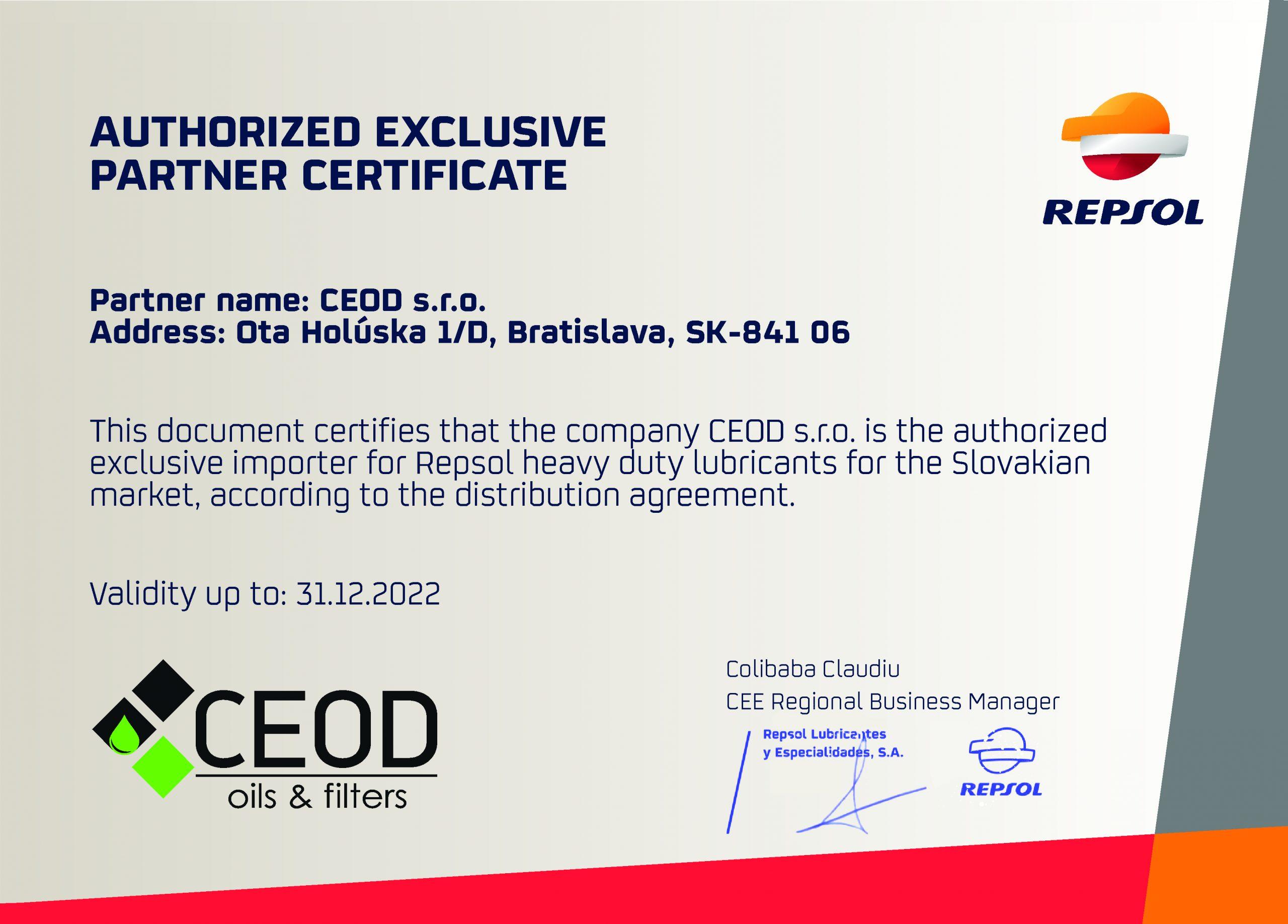 certifikát Repsol - CEOD