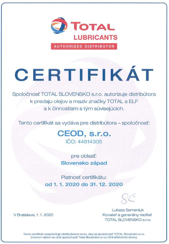 TOTAL certifikát CEOD
