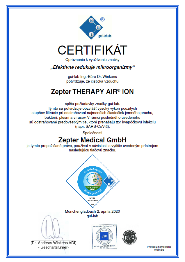 zepter certifikát therapy air ion